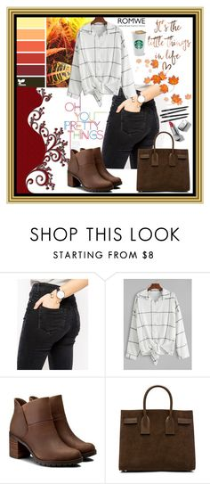 """romwe"" by ernaa0 ❤ liked on Polyvore featuring ASOS, Clarks, Yves Saint Laurent and Burberry"