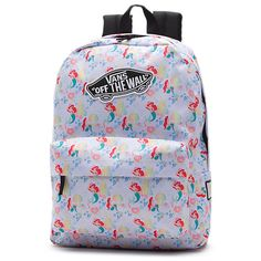 Vans and Disney come together for a magical collaboration that reimagines some of the most beloved and iconic Disney Princesses. Bringing to life her everlasting story of adventure, the Little Mermaid Disney Backpack is a 100% polyester backpack featuring an allover print of Ariel under the sea. Measuring 16.75 x 12.75 x 4.875 inches, it includes a zippered main compartment, adjustable padded straps, a front zip pocket, and a 22-liter capacity.