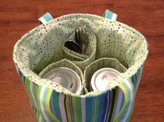 PINT 2-jar bag - Cool Stripe Jars to Go mason canning jar lunch bag carrier tote with reusable fabric napkin