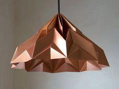 MAKE A WISH origami lampshade pendant satin-copper door werkdepot Copper Decor, Copper Lighting, Wall Lighting, Modern Light Fittings, Origami Lampshade, Copper Rose, Rose Gold, Crumpled Paper, Lamp Socket