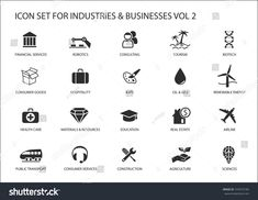 Business Icons And Symbols Of Various Industries U002f Business Sectors Like Consulting Tourism Hospitali Business Icon City Icon Social Media Design Graphics