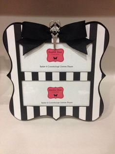 double barber cosmetology license frame black white stripes with black bow and silver scissors fits 2 8 12 x 3 58 business certificates