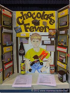 """Engage your students in fun reading activities this school year.  Instead of having a science fair at your school, have a reading fair instead.  This example shows a student's reading fair project for the book """"The Chocolate Touch"""" written by Patrick Skene Catling."""