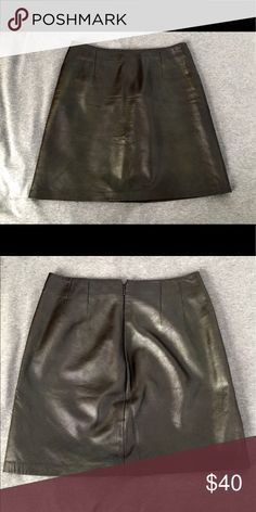 Dark Brown Leather Mini Skirt Very good quality! 100% leather Cache Skirts