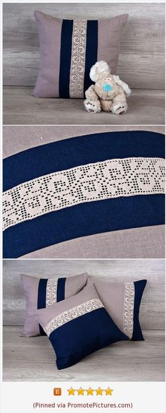 Filet crochet lace trimmed decorative pillow, handmade embroidered cushion, coffee navy blue pillowcase beige lace trim 16 x 16 ( 40 x 40 ) https://www.etsy.com/AdorningPillows/listing/451559460/filet-crochet-lace-trimmed-decorative?ref=shop_home_active_10  (Pinned using https://PromotePictures.com)