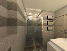 Projekt małej łazienki w bloku. A design of a small bathroom in a block of flats. Small Bathroom, Alcove, Bathtub, Flats, Design, Small Shower Room, Standing Bath, Loafers & Slip Ons, Bathtubs