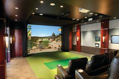 Multi-Purpose Media Room traditional-home-theater/putting green (golf) Home Theater Speakers, Home Theater Rooms, Home Theater Design, Golf Man Cave, Golf Room, Media Room Design, Golf Simulators, Public Golf Courses, Do It Yourself Home