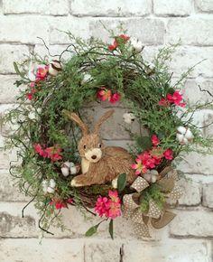 Cotton Spring Bunny Wreath, Spring Wreath, Cotton Wreath Front Door Wreath, Cotton Boll Wreath, Easter Wreath, Grapevine Wreath, Silk Floral Wreatg, Outdoor Wreath, Summer Wreath, Rabbit Wreath, Etsy Wreath, by Adorabella Wreaths!
