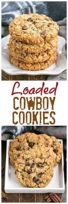 Loaded Cowboy Cookies Recipe | Chewy, buttery cookies with oats, chocolate chips, pecans and coconut #oatmealcookies #cowboycookies