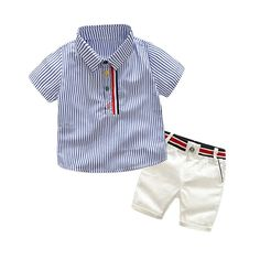 Boys summer fashion clothing sets kids striped short-sleeved T-shirt + shorts 2 pcs suit gentleman clothes Short Outfits, Toddler Outfits, Baby Boy Outfits, Trendy Outfits, Kids Outfits, Fashion Outfits, Short Beige, Preppy Outfits For School, Short Blanc