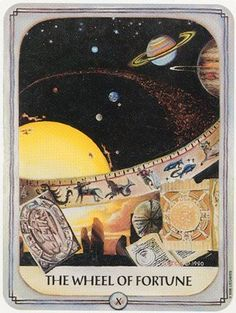 """Wheel of Fortune- from the """"Ancestral Tarot"""" by Julie Cuccia-Watts Wheel Of Fortune Tarot, Fortune Cards, Soul Collage, Fortune Favors The Bold, Trump Card, Tarot Major Arcana, Picture Blog, Faith Prayer, Tarot Spreads"""