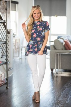 Walking Hand In Hand Floral Blouse - The Pink Lily Pink Lily, Unique Outfits, Floral Blouse, Passion For Fashion, Classic Style, White Jeans, Walking, Boutique, Pants