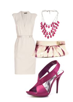 White with plum...what a romantic color combo and would work well for work to date night transition.