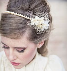 Wedding hair- vintage romance pearl headband, wedding tiara, bridal hair, wedding accessory. $58.00, via Etsy.