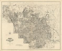 Map of Larimer County, Colorado.  1884.  Vintage restoration hardware home Deco Style old wall reproduction map print.