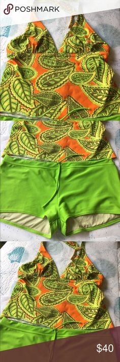 Ritchie Swim 🏊 Suit Ritchie Swim Suit. Two Piece, Size Large.  Lime Green, Orange, Yellow and Dark Tan.  Boyshort bottoms with drawstring; Halter style Top with neck tie.  Bottoms measure 18 Inches from side to side lying flat, 8 1/2 Inch Rise.  Top underbust Measures 16 1/2 Inches; cup has opening for padding if wanted (not included).  Each cup measures 8 inches across at bustline.  Excellent Condition- only worn once.  Purchased in South Beach. Ritchie Swim