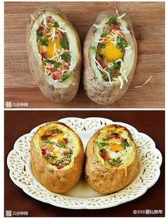 Breakfast In A Baked Potato! Yummy! 🍳❤️👍Breakfast in a Baked Potato: Instructions are for two but you could easily double, triple it ect. -2 baked potatoes -1 tbs. butter -2 eggs -2 strips of bacon, cooked -2 tbs. shredded cheddar -1 tbs. fresh parsley, chopped -Salt and freshly ground pepperInstructions: -Place 1/2 tbs. of butter into each 'bowl' -Then gently crack an egg into each of the 'bowls', be careful not the break the yolk -Top with bacon bits, cheese, and pa...