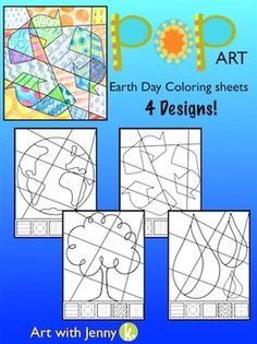 Earth Day Pop Art Interactive Coloring Sheets 4 Designs