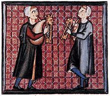 A detail from the Galician Cantigas de Santa Maria showing bagpipes with one chanter and a parallel drone (13th Century