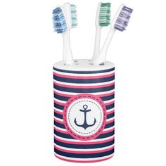 Nautical Navy Blue Hot Pink Stripes Anchor Design Soap Dispenser And Toothbrush Holder #Bathroom #Set