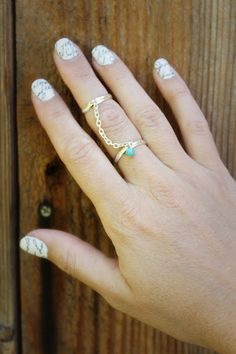 Two Silver Finger Ring chain drapel bead /Bohemian/vintage style/hippie/gypsy/Slave ring/handmade by Inali. $12.00, via Etsy.