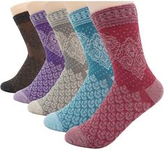 Women's Vintage Style Cotton 5 Pairs Soft Comfortable Socks -- This is an Amazon Affiliate link. Click image to review more details.