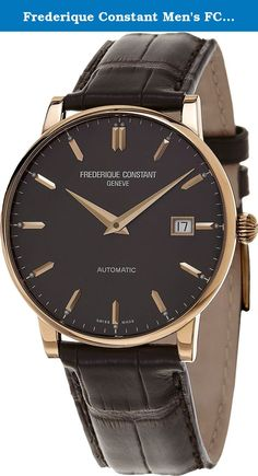 Frederique Constant Men's FC316C5B9 Slim Line 18K Rose Gold Watch with Brown Band. Case - Case Material: Stainless Steel (polished), 9ct Yellow Gold - Case Shape: Round - Case Colour: Red Gold - Bezel made of: Stainless Steel (polished) - Crystal: Sapphire crystal - Back: Srewed-in back Movement - Display Type: Hours, Minutes - Movement: Swiss Made automatic - Calendar: Date - Dial Colour: Black - Dial Style: Smooth - Illuminated: fluorescent (green) Strap - Clasp: Buckle clasp - Strap...