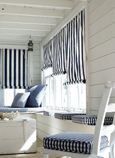 Coastal space with navy and white patterns