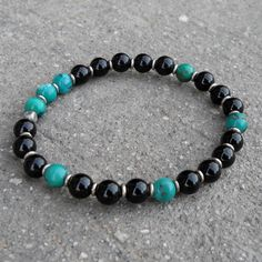 Turquoise and onyx gemstone mala bracelet
