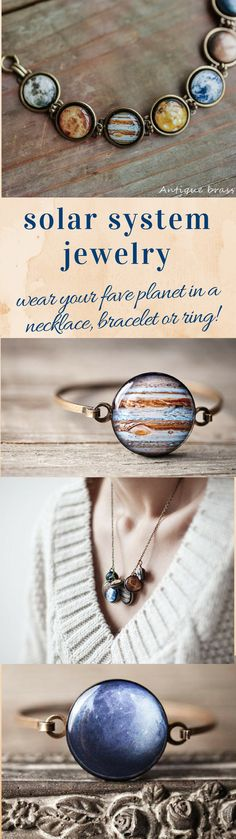 Solar system necklaces and bracelets, handmade#solarsystem #planets #cosmos #geek #astronomy #science #universe #venus #mars #jupiter #moon #jewelry #aff #etsy