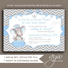 Elephant Baby Shower Invitations Boy Prince Invite Printable Invitation