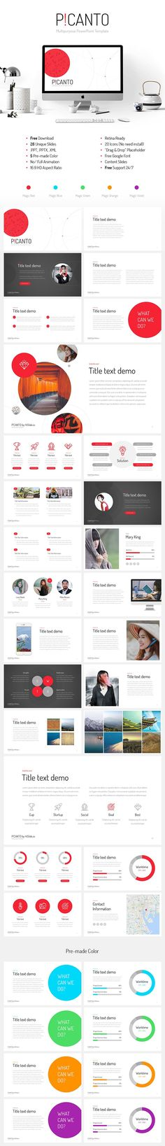7 best free powerpoint templates on behance images on pinterest picanto ppt template free download 26 unique slides 5 pre made color red green blue orange violet 169 hd aspect ratio retina ready toneelgroepblik Images
