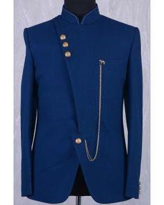 Dark Teal Blue Jute Thread embroidered Jodhpur I African Wear Styles For Men, African Dresses Men, African Clothing For Men, African Shirts, Nigerian Men Fashion, Indian Men Fashion, Mens Fashion Suits, Mens Suits, Wedding Dresses Men Indian