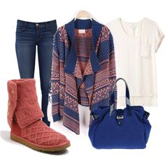 coral and navy by vbean on Polyvore featuring Eurø Style, rag & bone, J Brand, UGG Australia and Maddalena Marconi