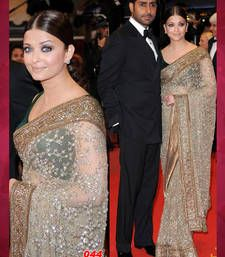 Buy Bollywood Replica Aishwariya Ria Heavy Work Net Saree aishwarya-rai-saree online