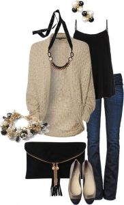 #fall #outfits / Knit Cardigan + Flats