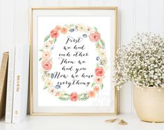 First we had each other print, Nursery quote, new baby girl gift, wall art, Decor, Pink, Floral wreath, Instant download, Daughter gift, by AdornMyWall on Etsy