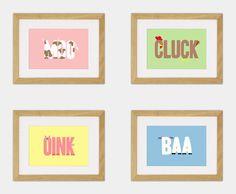 Love! ~ Down at the Farm.  Set of 4 Typographic Art Prints. £28.00, via Etsy. {$44.18 USD}