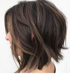 Brunette Shaggy Bob with Subtle Highlights Bob Hairstyles medium 60 Fun and Flattering Medium Hairstyles for Women Medium Hair Styles, Curly Hair Styles, Short Bob Hairstyles, Fun Hairstyles, Choppy Bob Haircuts, Lob Haircut, Blonde Hairstyles, Short To Medium Haircuts, Shaggy Bob Haircut