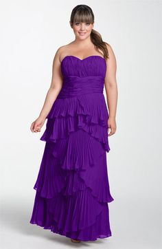 Dalia MacPhee Tiered Pleat Chiffon Gown available at Nordstrom