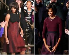 Michelle Obama in 2013 in Jason Wu (left) and in 2010 in Mizrahi