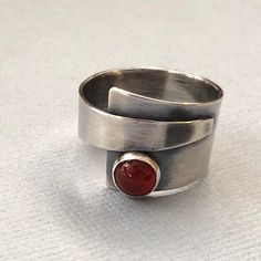 Oxidized silver ring with Carnelian.