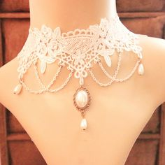 Find More Choker Necklaces Information about Gothic Jewelry White Flower Lace Rhinestone Pendant Vintage Choker Necklace Queen Princess Accessories False Collar,High Quality accessories fish,China necklace diamante Suppliers, Cheap necklace ivory from Top