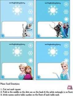 Free Disney Frozen Party Place Cards; other party favors FamilyShoppingbag.com