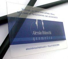 Alessio Brioschi, transparent business cards - http://www.bce-online.com/en/shop/business-cards/business-cards-crystal-transparent.html