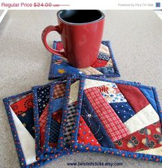 On Sale Crazy Quilt Coasters, Mug Rugs, Americana, Red White and Blue, Set of 6 on Etsy, $19.20