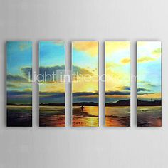 [USD $ 149.99] Hand Painted Oil Painting Landscape Sea with Stretched Frame Set of 5 1306-LS0323