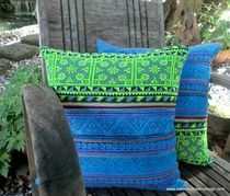 Ethnic Hmong Embroidery Decorative Throw Pillow Cushion Cover Siamese Dream Design ships worldwide.