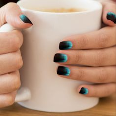 Elegant Blue Northern Lights Dark Nail Stickers #nailart http://www.zazzle.com/sara_valor*/nail+art