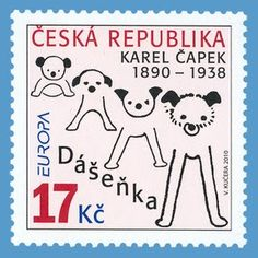 Czech Republic stamp - Dasenka, beloved dog made famous by the children's book by Karel Capek Going Postal, Mail Art, Stamp Collecting, Czech Republic, Postage Stamps, Childrens Books, Retro, Poster, Lettering